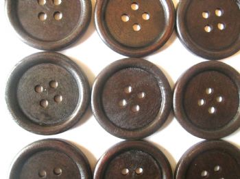 5cm Large Wooden Dark Brown Buttons